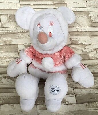 """Minnie Mouse Winter DISNEY STORE Pink White 16"""" Plush Doll Stuffed Toy USED"""