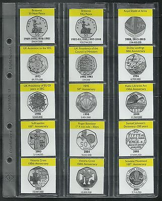 UK 50p coin album display sleeves + info card inserts - ALL designs 1969-2019
