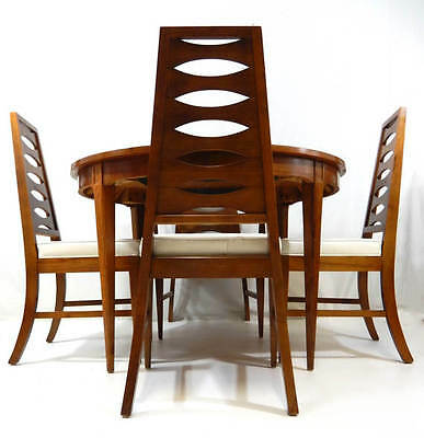 Mid Century Modern Dining Set Table w 4 Cat Eye Ladder Back Chairs Kent Coffey