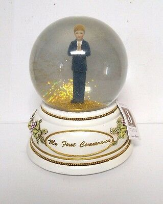 Roman First Communion Musical Water Globe The Lord's Prayer Glitter Dome 2006