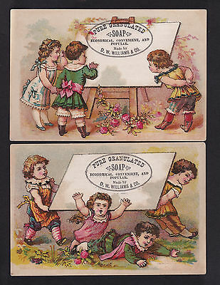 c.1890 children at easel Williams Soap 2 victorian trade cards advertising 2x4