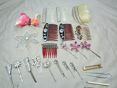 24 Vtg Hair Combs Deco Rhinestones French Butterfly Clip Wedding Barrettes Lot
