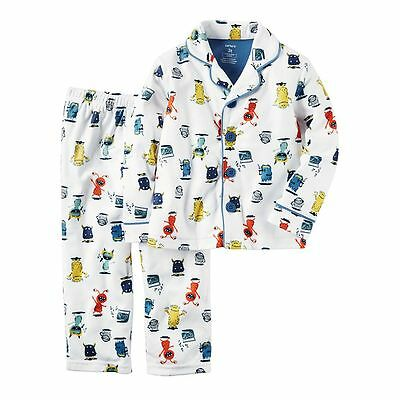 NWT Toddler Boys 2T CARTER'S White Monster Pajama Set Button Front