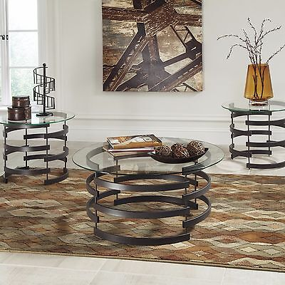 Modern 3 Piece Round Glass Coffee Table Set in Black Metal Contemporary NEW