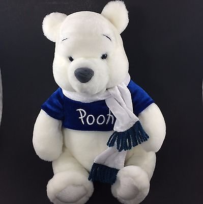 "Disney Winnie the Pooh Plush 12"" Winter White Blue with Scarf"