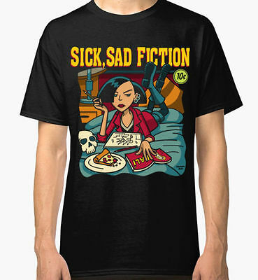 New Daria Pulp Fiction Sick Sad Fiction Men's T-Shirt Black