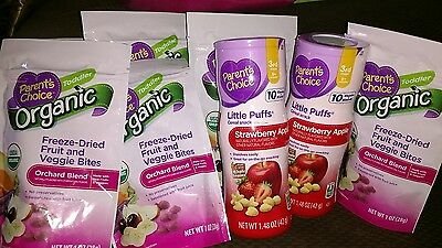 Lot Of Organic Freeze Dried Baby Toddler Snacks Cereal Puffs Fruit Veggie Bites