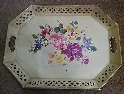 "Vintage Nashco Metal Tole Painted Tray Large 20"" x 15"" Tan Floral"