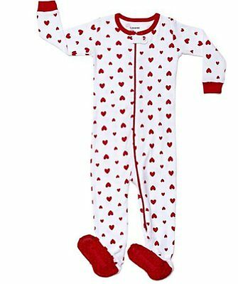 "Leveret Footed ""Hearts"" Girl Pajama Sleeper 100% Cotton Size 6M-12M"