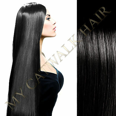 """50% OFF SALE New 20"""" Clip In #1 Black Remy Human Hair Extensions 7pc Half Head"""