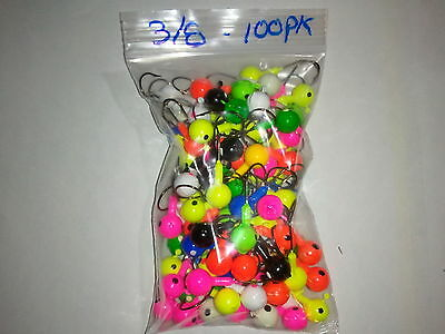 100 Pack Round Head Jigs - 3/8Oz - Assorted Colors - Free Shipping