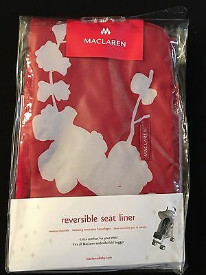 Maclaren Stroller Accessory Reversible Seat Liner - Cherry Blossom Scarlet NEW