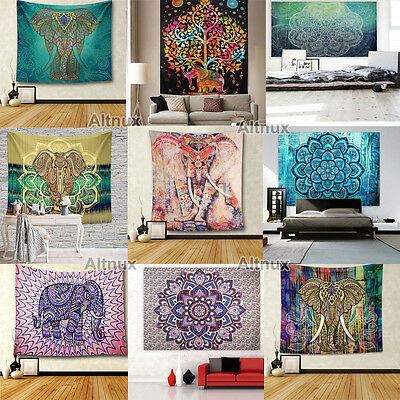 Gypsy 210cm Large Indian Tapestry Wall Hanging Hippie Elephant Bedspread Throw