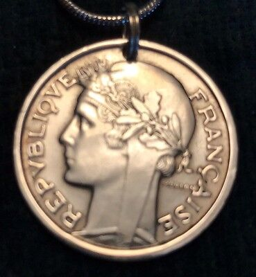 "Vintage 1957 Genuine Coin FRANCE  ""BEAUTIFUL SYMBOL OF LIBERTY""  Coin Pendant"