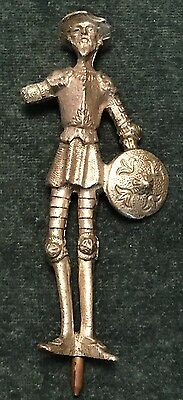 Antique Metal Don Quixote Silver Plated Figurine With Brass Split Pin On Base