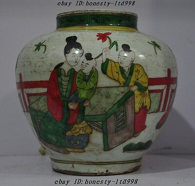 Collect China Wucai Old Porcelain Belle Boy Statue jar bottle pot Crock Tank A