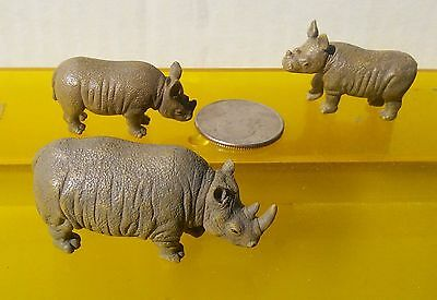 3 Bandai African safari white rhinos rhinoceros, 1 adult + 2 different calves