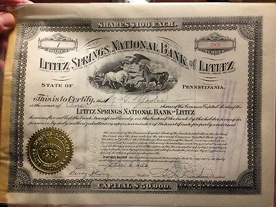 Vintage Lititz Springs National Bank Stock Certificate Lititz Pa
