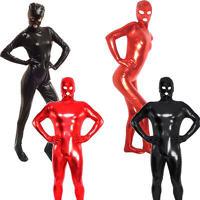 Mens Lingerie Latex Rubber Zentai Eyes Mouth Open Catsuit Bodysuit Fancy Costume
