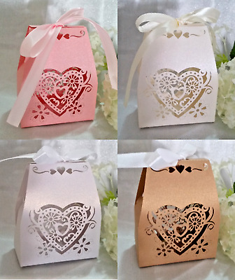 25/50/100 Love Heart Laser Cut Favour Box, Wedding Bomboniere, Candy Gift Boxes