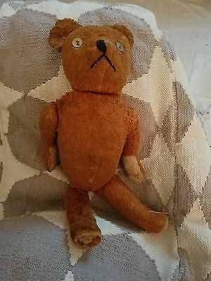 Vintage Mohair Teddy Bear Cognanc Brown Jointed Head Arms Legs 15 Inches
