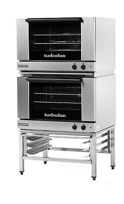 Moffat E27M3/2 Turbofan Dual Electric 3 Full Pan Convection Oven w/ Stand
