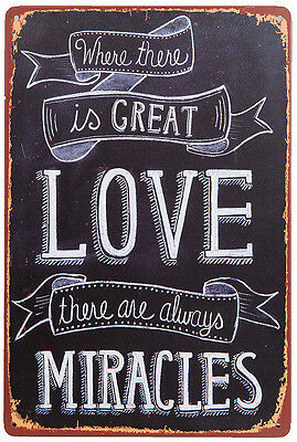 Retro Deko Blechschild Love and Miracles Nostalgie Metallschild Vintage Wanddeko