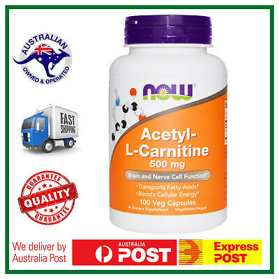 Acetyl L-Carnitine 500mg 100 Veg Caps by NOW Foods - ALCAR BURN FAT WEIGHT LOSS
