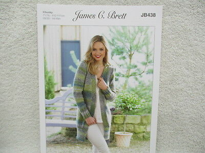 James C Brett - Ladies Chunky Jacket Knitting Pattern - JB438