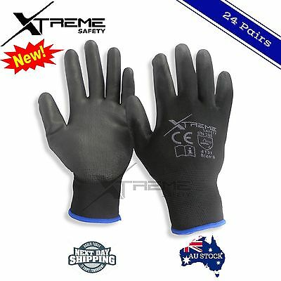 24 Pairs PU Coated Xtreme Safety Gloves Work Gloves Hand Protection Size M,L,XL