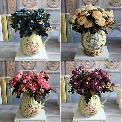 Artificial Fake Silk Peony Flowers Home Room Decor Bouquet Wedding Party Flower