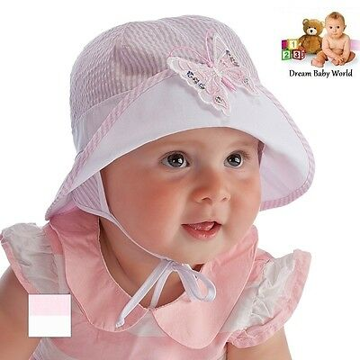 100% Cotton girls sun bonnet hat spring summer 9 - 24 months & 2 - 3 Years BABY