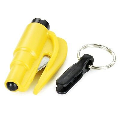 Plastic 2 in 1 Car Safety Hammer Seat Belt Cutter Keychain Rescue Tool Yellow