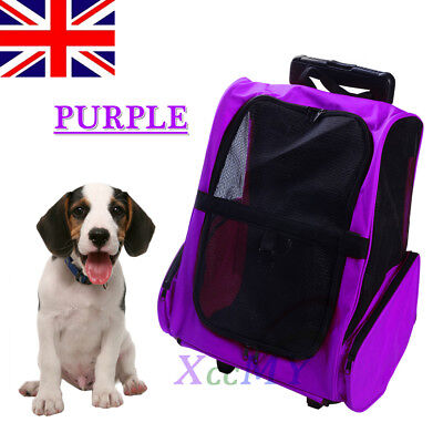 PURPLE Travel Pet Carrier Stroller Airline Back Pack Dog Cat Puppy Trolley Bag