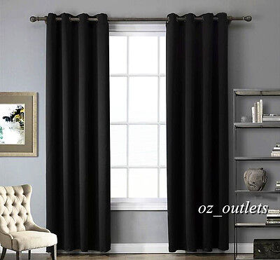 Quality Blackout Blockout Pure Black Fabric Curtains Room Darkening Ring Curtain
