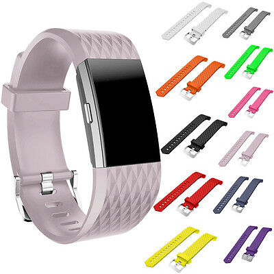 Silicone Wrist Watch Bands For Fitbit Charge 2 Replacement Strap - Various Color