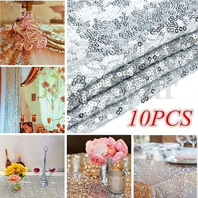 1/5/10PCS Silver Glitter Sequin Table Runner Sparkly Wedding Party Decor Bling