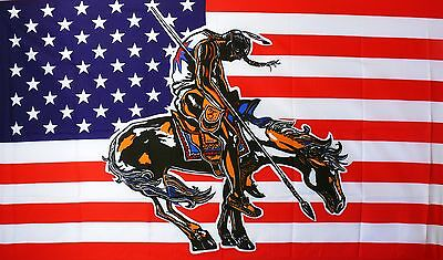 Flagge Fahne USA End of Trail Wisconsin Skulptur 90x150 cm Ösen Native Indianer