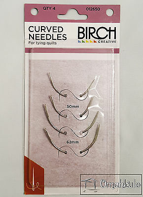 BIRCH Curved Needles for tying Quilts - 4 Pack - 2 x 50mm & 2 x 62mm