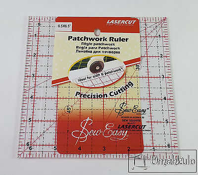 "SEW EASY - Square Patchwork Quilt Template Ruler 6.5"" x 6.5"" - Clear Acrylic"