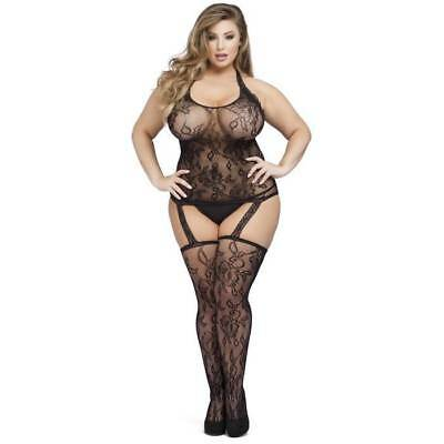 Lovehoney Plus Size Black Floral Lace Halterneck Suspender Bodystocking