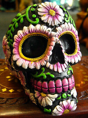 SUGAR PETAL SKULL ASHTRAY FIGURE Ornament MEXICAN Day of the Dead GOTHIC PAGAN