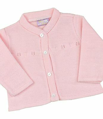 BabyPrem Baby Girls Pink Knitted Cardigan Cardi Jumper Top 0 - 12 m