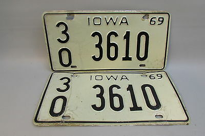 1969 Iowa license plate. Matching Pair # 3610   Bremer County 30 CLEAN