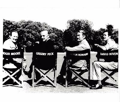 Actors on Location in wrong chairs. Roger Moore, Gregory Peck Vintage Still