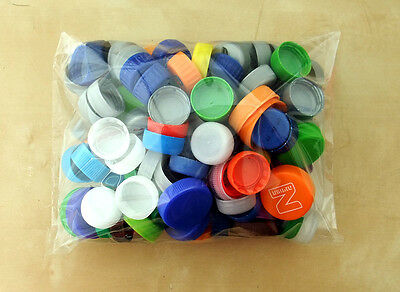 132 Plastic Bottle Screw Caps Tops Craft Art Games Recycle Lots of Mixed Colors