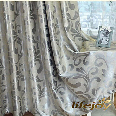 95% BLOCKOUT EYELET CURTAINS European Style Grey Silver Scroll BLACKOUT DRAPES