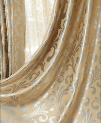 95% BLOCKOUT EYELET CURTAINS European Style Beige Gold Scroll BLACKOUT Blinds