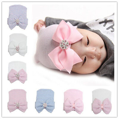 Newborn Baby Cotton Bow Soft Stretchy Hospital Hat Beanie Infant Girl Boy Kid