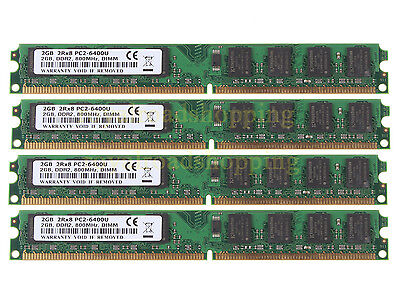 Low density 8GB 4x 2GB DDR2 800MHz PC2-6400U CL6 DIMM Intel CPU Desktop memory